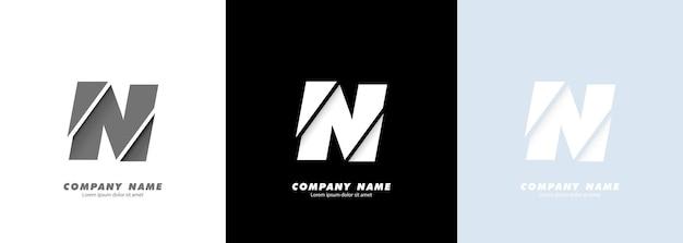 Logotipo da letra n do alfabeto da arte abstrata. design quebrado.