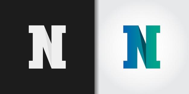 Logotipo da letra n inicial do monograma