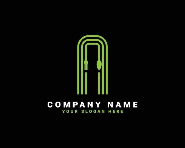 Logotipo da letra n, logotipo da letra n food, logotipo da letra n colher