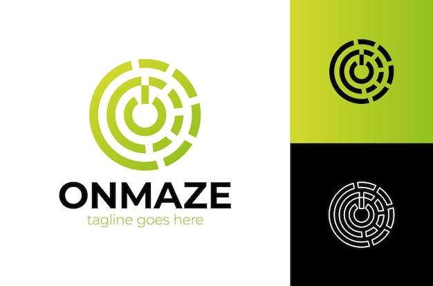 Logotipo da letra o inicial com um modelo de botão com labirinto de contorno de círculo
