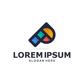 Logotipo da letra p abstrato colorido