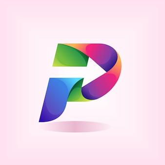 Logotipo da letra p com elemento de seta