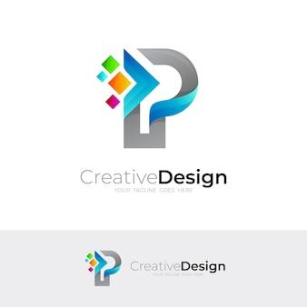 Logotipo da letra p com tecnologia de design de pixel, logotipos coloridos de linha