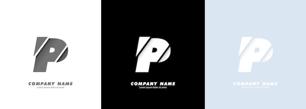 Logotipo da letra p do alfabeto da arte abstrata. design quebrado.