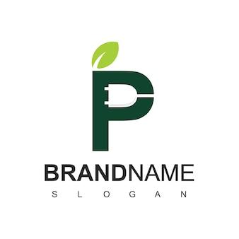 Logotipo da letra p eco eletricidade