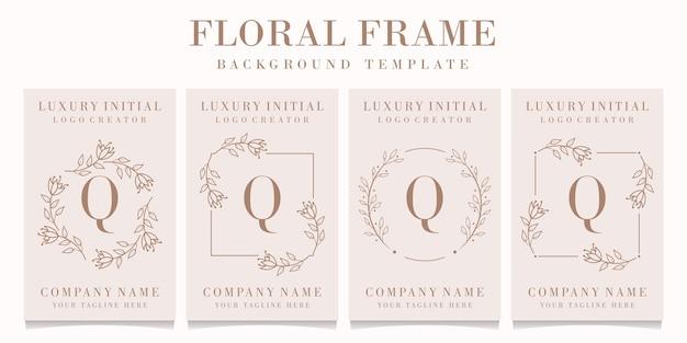 Logotipo da letra q com modelo de moldura floral
