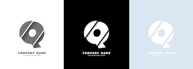 Logotipo da letra q do alfabeto da arte abstrata. design quebrado.