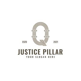 Logotipo da letra q law and justice pillar elegante ousado arte em linha geométrica