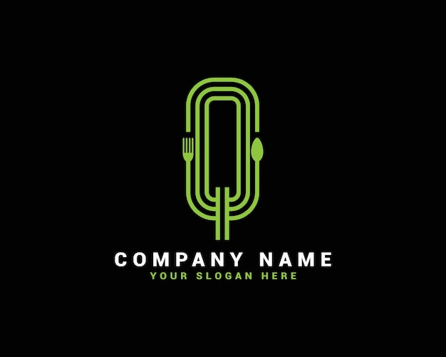 Logotipo da letra q, logotipo da carta q food, logotipo da letra q colher