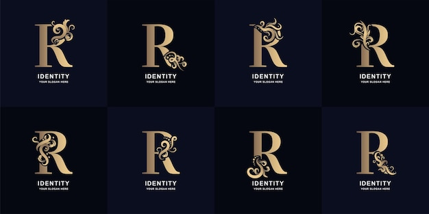 Logotipo da letra r da coleção com design de ornamento de luxo