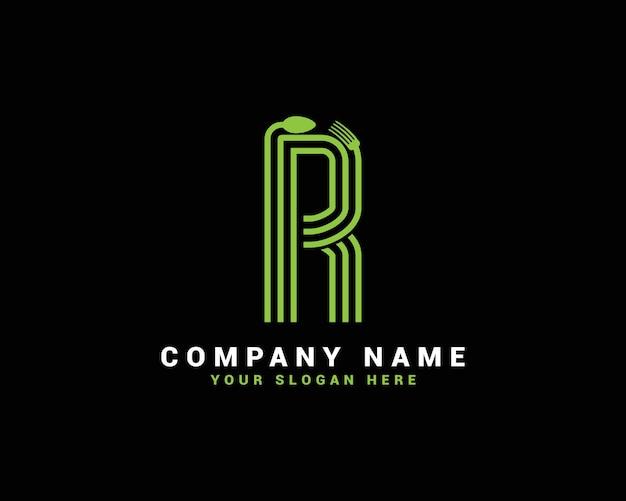 Logotipo da letra r, logotipo da letra r food, logotipo da letra r colher