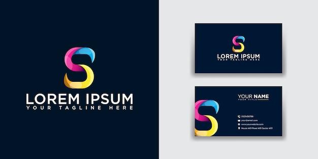 Logotipo da letra s abstrata com modelo de cartão de visita