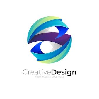 Logotipo da letra s com modelo de desenho de círculo, cor azul