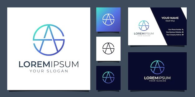 Logotipo da letra s e a do monograma com modelo de cartão de visita