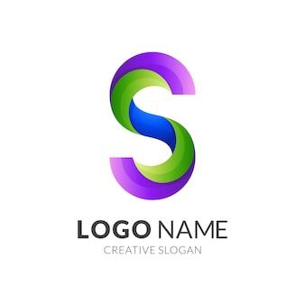 Logotipo da letra s, letra s e folha, logotipo de combinação com estilo colorido 3d