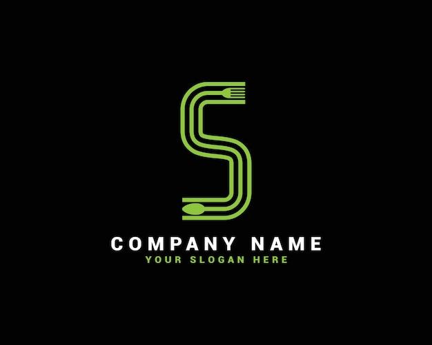 Logotipo da letra s, logotipo da letra s food, logotipo da letra s colher
