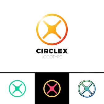 Logotipo da letra simples x. logotipo da linha do círculo