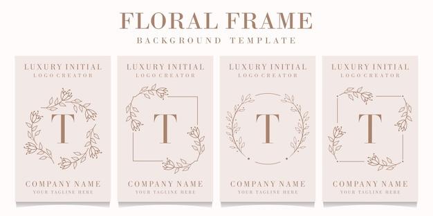 Logotipo da letra t com modelo de moldura floral Vetor Premium