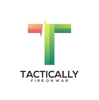 Logotipo da letra t ilustração colorida gradiente abstrato