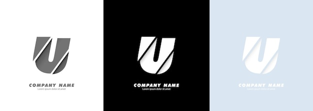 Logotipo da letra u do alfabeto da arte abstrata. design quebrado.