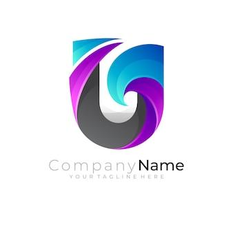 Logotipo da letra u e ilustração de design de onda, logotipo do oceano