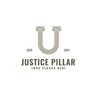 Logotipo da letra u law and justice pillar arte elegante linha geométrica em negrito