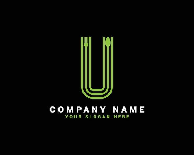 Logotipo da letra u, logotipo da letra u food, logotipo da letra u colher