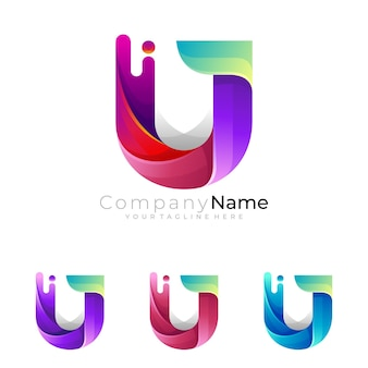Logotipo da letra u simples com ícones coloridos 3d, logotipo de combinação
