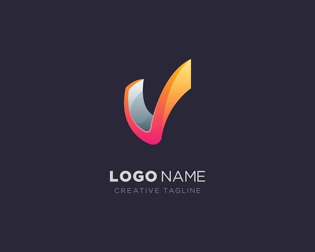 Logotipo da letra v criativa