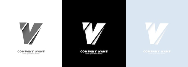 Logotipo da letra v do alfabeto da arte abstrata. design quebrado.