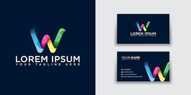 Logotipo da letra w abstrata com modelo de cartão de visita