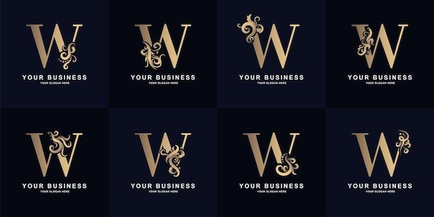 Logotipo da letra w da coleção com design de ornamento de luxo