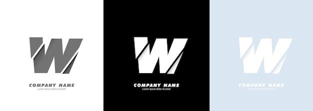 Logotipo da letra w do alfabeto da arte abstrata. design quebrado.