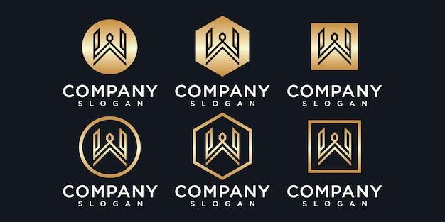 Logotipo da letra w do monograma abstrato para a empresa