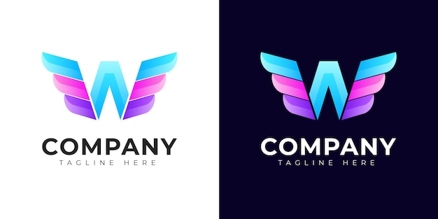Logotipo da letra w inicial de estilo gradiente moderno com conceito de asas