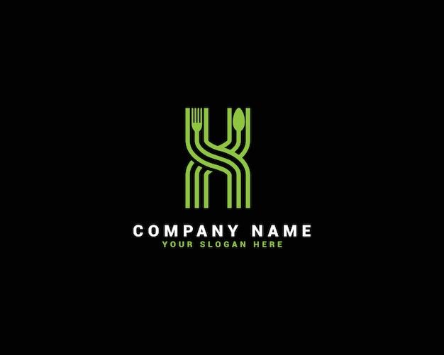 Logotipo da letra x, logotipo da letra x food, logotipo da letra x colher