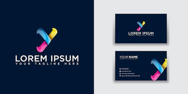Logotipo da letra y abstrata com modelo de cartão de visita