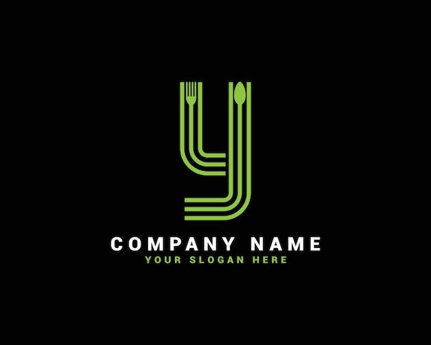 Logotipo da letra y, logotipo da letra y food, logotipo da letra y da colher