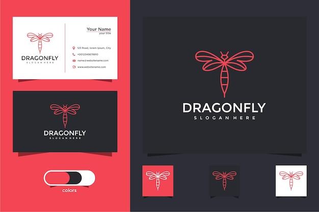 Logotipo da libélula com estilo de linha e design de cartão de visita