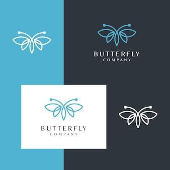 Logotipo da linda borboleta com um estilo de design de linha simples