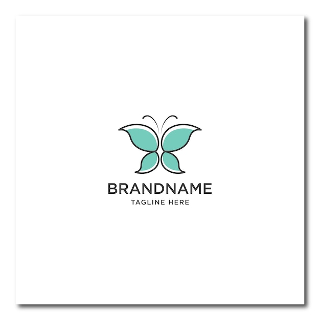 Logotipo da linha borboleta. logotipo de borboleta plana