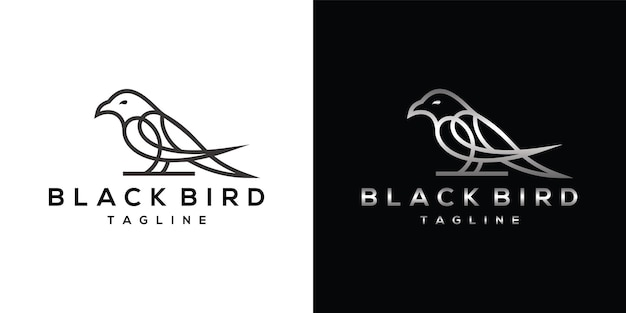 Logotipo da linha de arte black raven