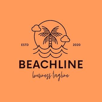 Logotipo da linha de arte limpa de praia