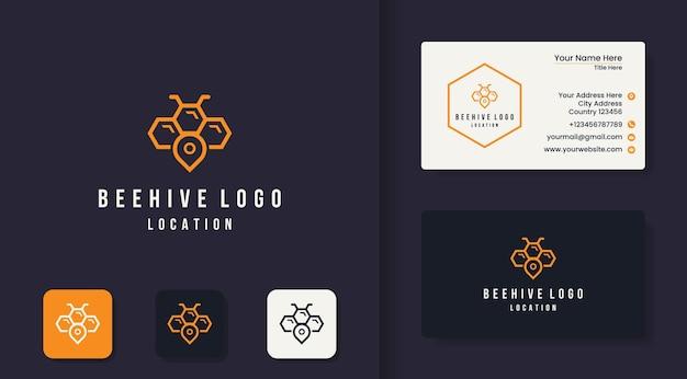 Logotipo da linha de contorno de localização do honeycomb e cartão de visita