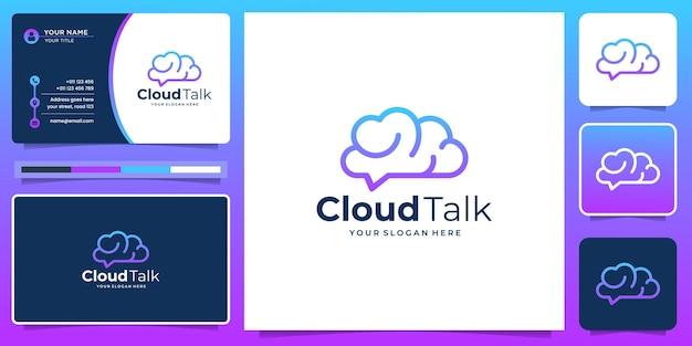 Logotipo da linha de nuvem moderna com design de conceito criativo de conversa. gradiente de cor, logotipo e cartão de visita.