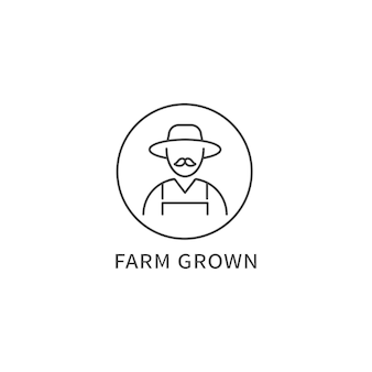 Logotipo da linha de vetor, crachá ou ícone - produto cultivado em fazenda. símbolo de uma alimentação saudável e natural.