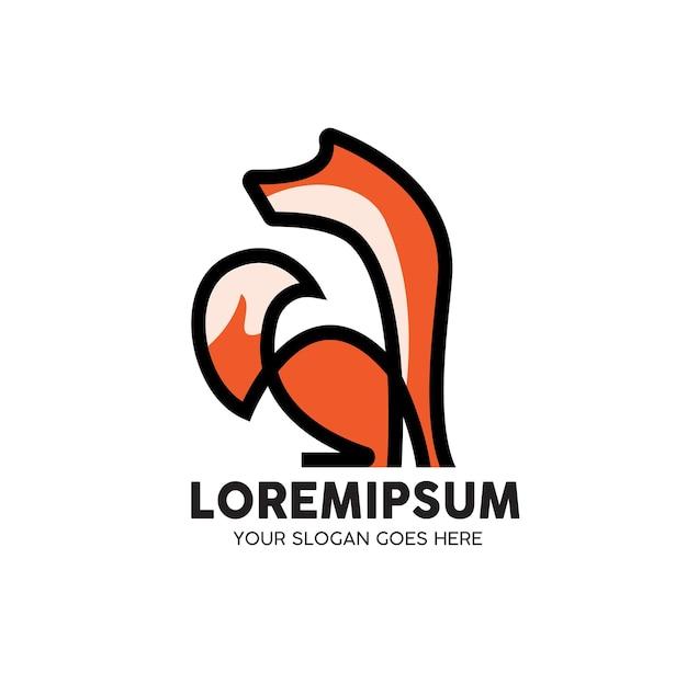 Logotipo da linha monoline animal fox