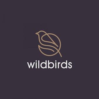 Logotipo da linha simples pássaro selvagem