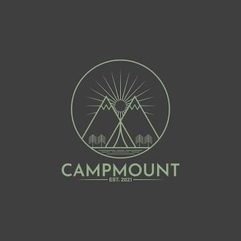 Logotipo da linha vintage de acampamento de montanha