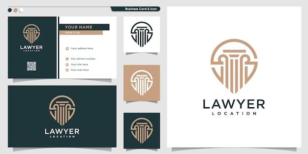 Logotipo da localização do advogado com estilo de arte de linha exclusivo e cartão de visita